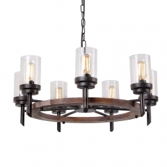 Round Farmhouse Wood Dining Table Chandelier with Seeded Shades, Industrial Vintage Edison Pendant Lamp Rustic Hanging 7 Lights, 17807