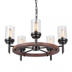 Round Farmhouse Wood Dining Table Chandelier with Seeded Shades, Industrial Vintage Edison Pendant Lamp Rustic Hanging 5 Lights, 17803