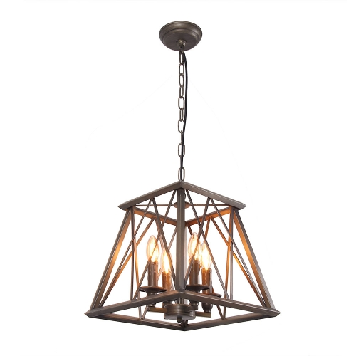 Trapezoid Metal Pendant Lamp Bronze Finished Retro Rustic Vintage Industrial Edison Hanging Light Fixture Ceiling Lamp Chandeliers