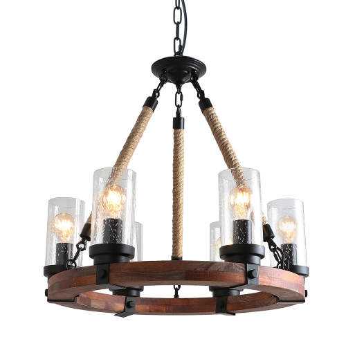 Anmytek C0008 Round Wooden Chandelier with Seeded Glass Shade Rope and Metal Pendant Six Decorative Lighting Fixture Retro Rustic Antique Ceiling Lamp