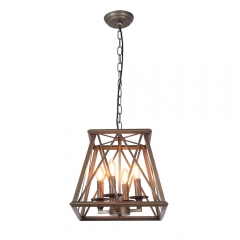 Industrial Trapezoid Metal Cage Chandelier Light, Bronze Rubbed Finish Edison Vintage Pendant Lamp Kitchen Island Hanging 4 Lights, C0026