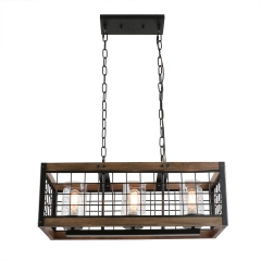 Anmytek Square Metal and Wood Chandelier Basket Pendant Three Lights Oil Black Finishing Iron Net Lamp Shade Retro Vintage Industrial Rustic Light