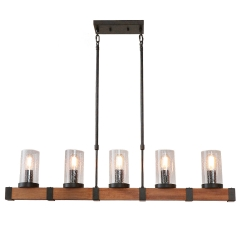 Farmhouse Style Wood Chandelier 5 Lights with Shades, Vintage Edison Adjustable Pendant Lamp Kitchen Island Hanging Light, C0022