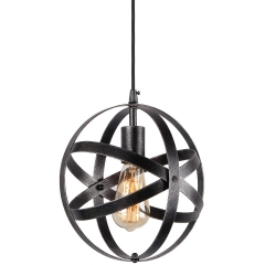Spherical Displays Changeable Industrial Pendant Light, Edison Vintage Industrial Black Finish Hanging Light, P0013