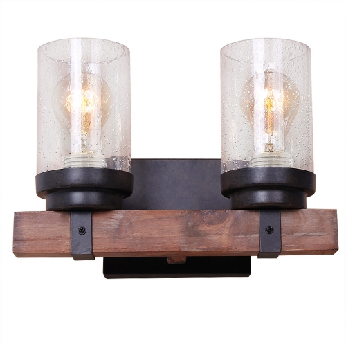 Anmytek Wall Lamp Wooden Wall Light Wall Sconce Fixture with Bubble Glass Shade (Two Lights)-W0019