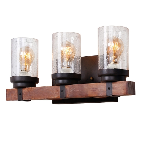 Anmytek Wall Lamp Wooden Wall Light Wall Sconce Fixture with Bubble Glass Shade (Three Lights)-W0020