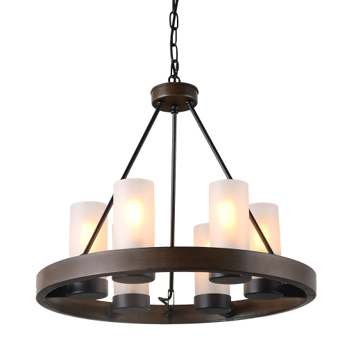"21.5""D Round Metal Chandelier Light with Frosted Glass Shade, Rustic French Country Industrial Edison Hanging Light 6 Lights, C0058, Brown"