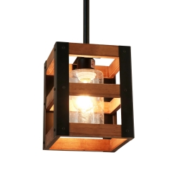 3Tiers Farm Style Wood Pendant Light with Seeded Shade, Vintage Kitchen Island Light Rustic Hanging Lamp, P0014